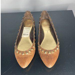 Jessica Simpson Gane Brown Stud Flats Size…